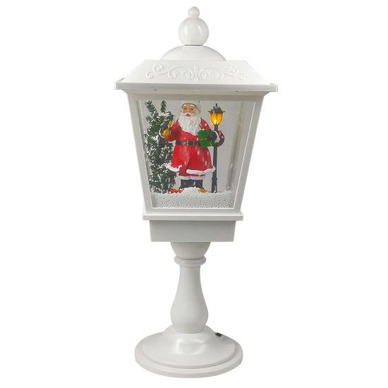 New Arrive Navidad Christmas Santa Scene Musical Tabletop Lantern, Xmas LED Lamp Post with Falling Snow