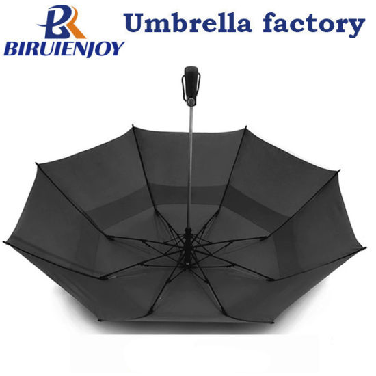 Promotional Windproof 58 Inch Auto Open Double Layer 2 Folding Golf Umbrella