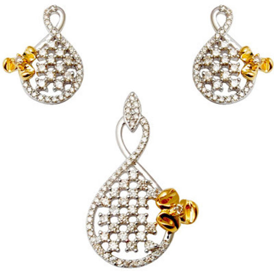 Two Tone 925 Sterling Silver Jewelry Set Wholesales