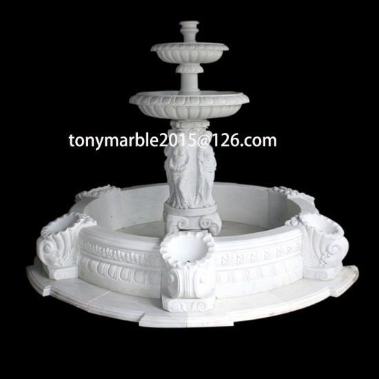 White Carrara Stone Sculpture Water Fountain (SY-F007) pictures & photos