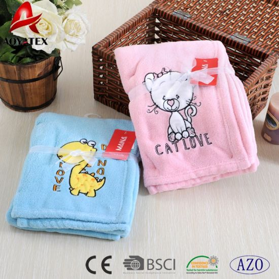 aee90743c07f 2017 Cartoon Pattern Design Super Warm Embroidery Lovely Coral Fleece Baby  Blanket