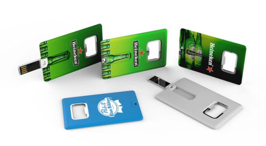 Credit Card Shaped USB Flash Drive with Bottle Opener Function and Large Print Area Cc18