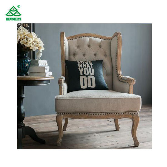 China European Rustic Wooden Leisure Chair for Bedroom ...