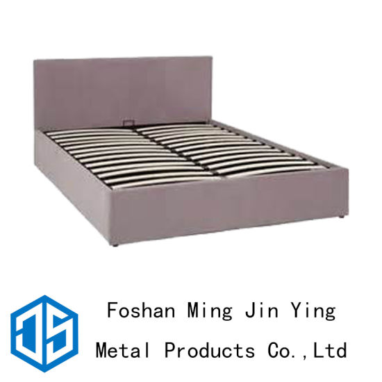 High Box Wooden Slat Metal Bed Frame Furniture Accessories (A002)