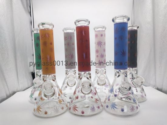 Wholesale Tobacco Glass Smoking Water Pipes with Leaf Decals