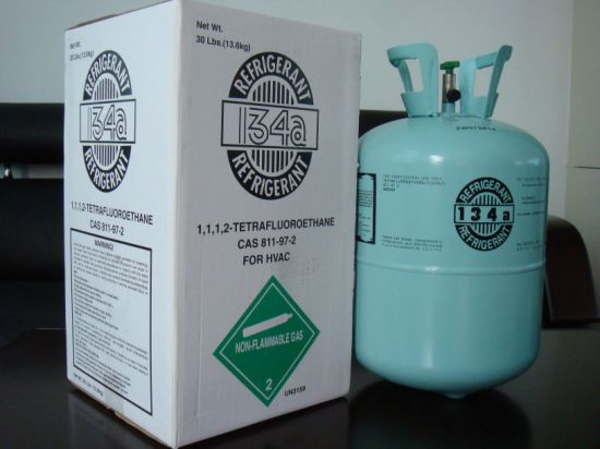 Net Weight 13.6kg Cylinder Packing Pure R134A Refrigerant Gas