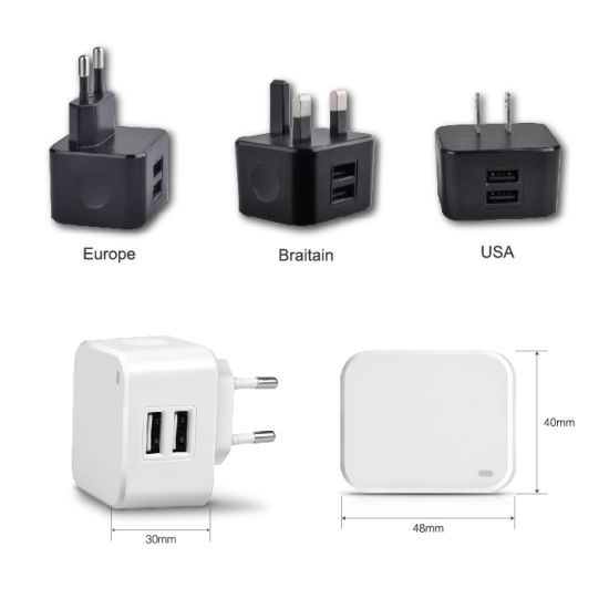 Universal 2 USB Output 3.4A Us EU UK Travel Charger
