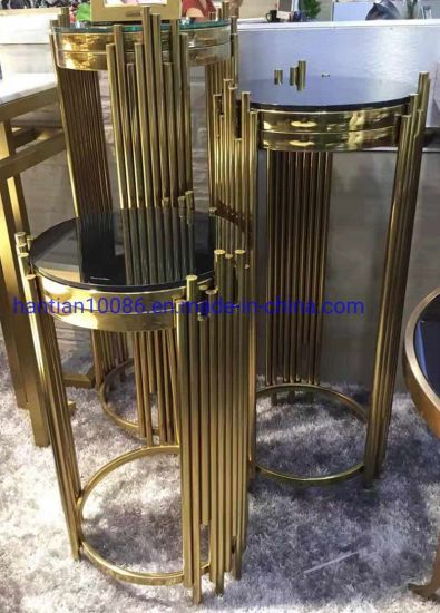 Hotel Side Table Wedding Party Electroplating Gold Metal Round Glass Top Flower Stand Centerpiece