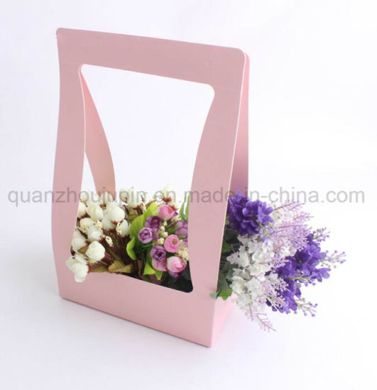 OEM Waterproof Kraft Paper Florist Handle Flower Basket pictures & photos