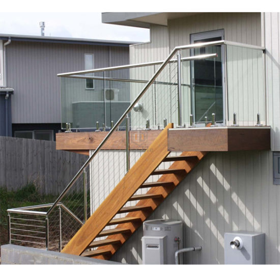 Wooden Staircase / Ladder With Stainless Steel Cable Railing / Outdoor  Stairs