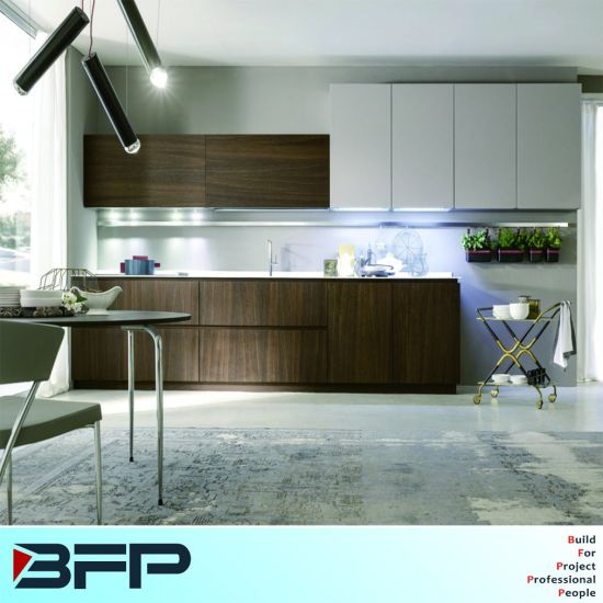 Modern Customized Natural Veneer and High Gloss White Kitchen Cabinets  Blk-42