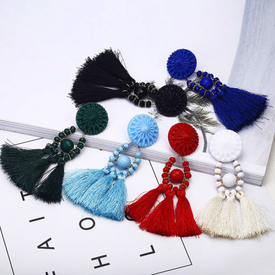 Tiny Tassel Earrings for Women Fashion Jewelry Vintage Velvet Ball Statement Fringed Drop Earring Female Jewellery 2018 New pictures & photos