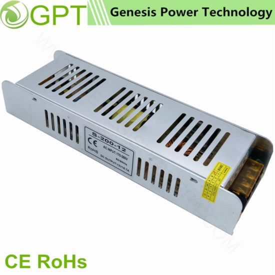 200W 24V CCTV Switching Mode Slim AC DC LED Transformer for LED Light Strip Advertisting Board, Single Output Switch Adapter Power Supply