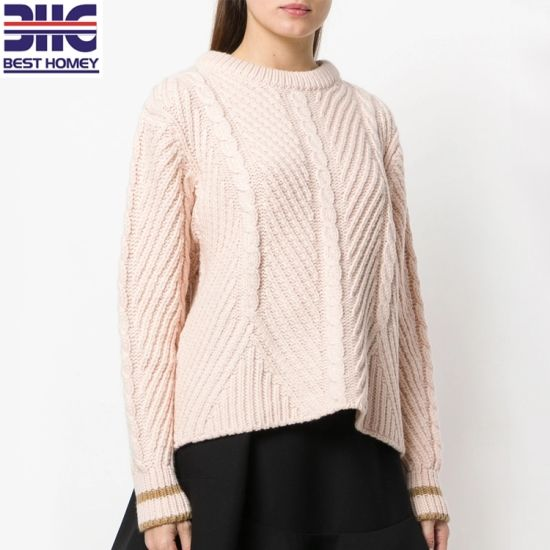 fbe474d0353 Crew Neck Long Sleeve Wool Blend Knitted Cable Knit Design Pullover Sweaters  for Womens