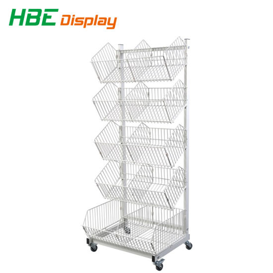 Wire Stackable Basket Stand Rack For Storage With Wheels