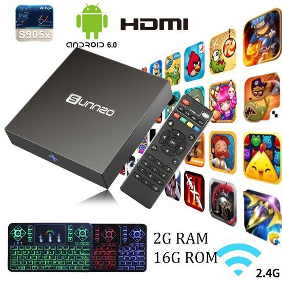 China Android TV Box with Wireless Keyboard Amlogic S905X