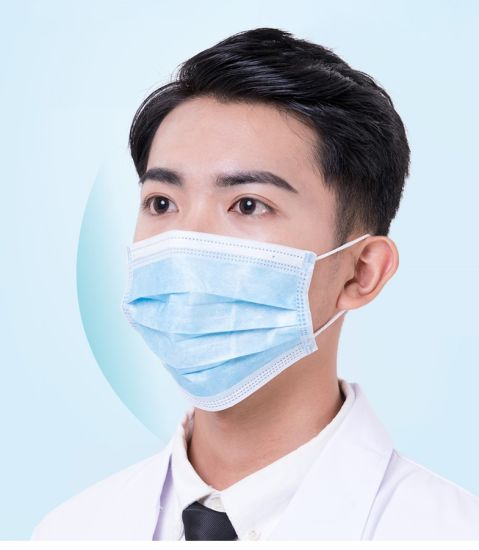 Top Quality China Factory Wholesale Cheap Ready to Ship Stock Protective Blue Non Woven Ce 3ply Face Mask Disposable Earloop