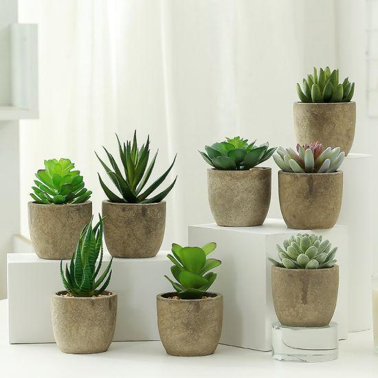 Ins Nordic Style Artificial Flowers Bonsai Succulents Decorative Plant Mini Potted Plants for Home Indoor Decoration Ornaments