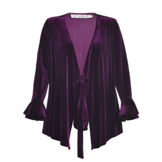 Purple Color Ladies Coat Wear for Winter with Flare Sleeve