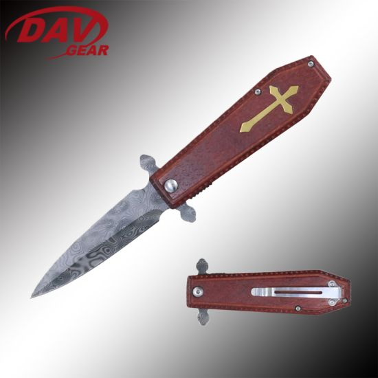 """4.5""""Stainless Steel Acidetched Pattern Blade Spring Assisted Folding Pocket Knife EDC"""
