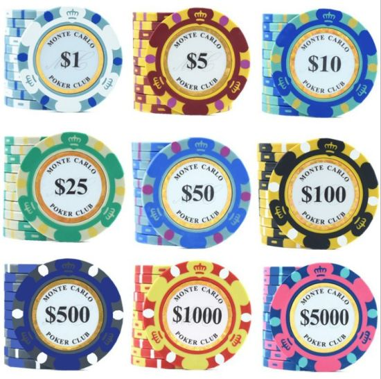 Crown Pattern 14G Clay Poker Chips for Gambling Casino Game with Gold Foil Sticker