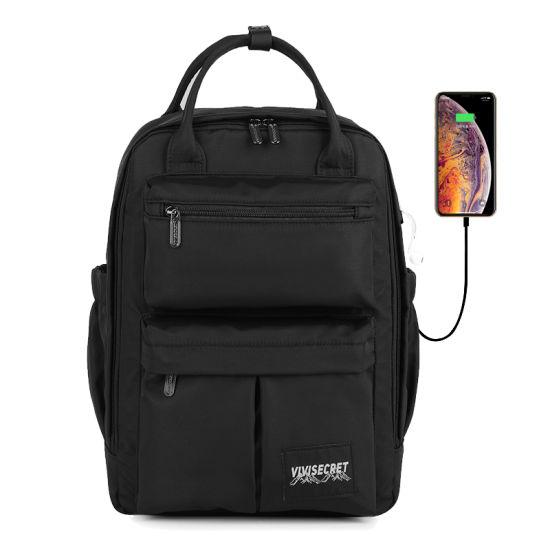 Boys Travel Waterproof Polyester School Bag USB Girl Student Backpack