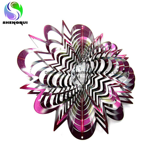 3D Crystal Splash Wind Spinner Garden Ornament Metal Wind Spinner
