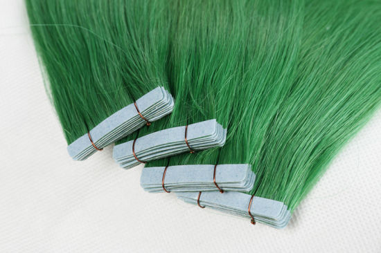 Wholesale Remy Tape Hair Extensions Silky 16inch Green Color