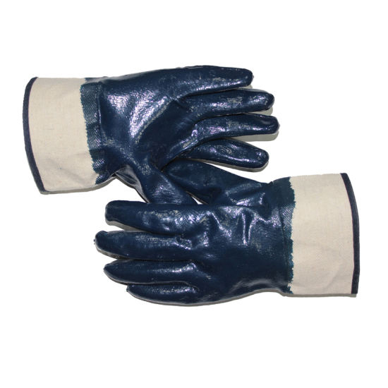 10.5 Inch Blue Nitrile Fully Coated Gloves with Safety Cuff and Jersey Lining Oil Proof En388 4112X