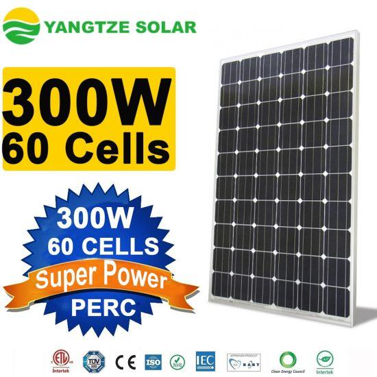 Yangtze Customized Various Standard 60 Cells Mono Solar Panel 300W for Solar Power System