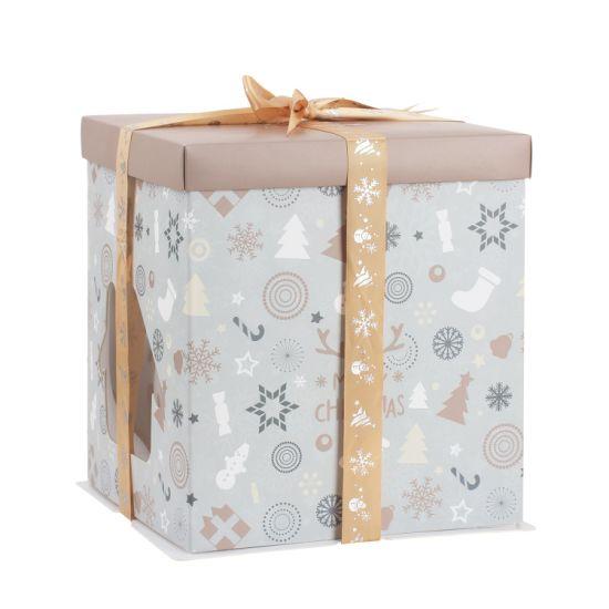 Decorative Christmas Theme Box Food Bag Party Favor Cake Box Custom Make Gift Christmas Box