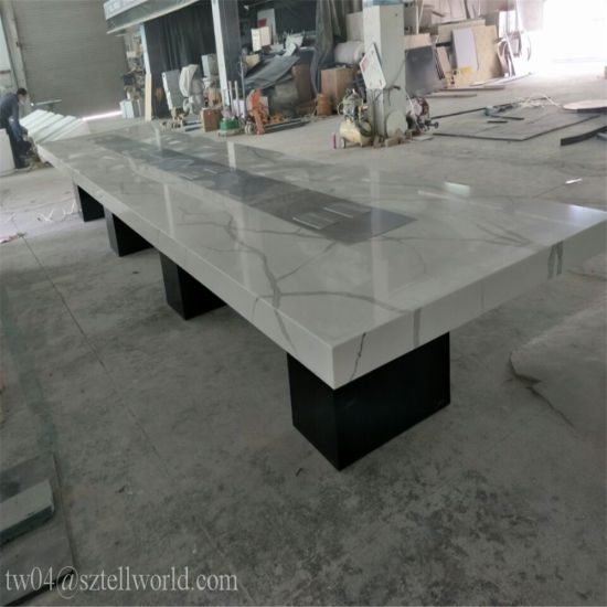 China White And Black Glossy Finish Marble Conference Furniture - White marble conference table