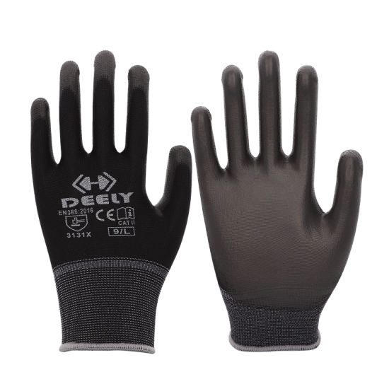 PU Coated Knitted Black Safety Working Gloves with En420 En388
