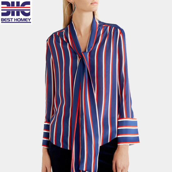 7aa34b9774c52 Striped Pussy Bow Ties 100% Silk Ladies Tops Long Sleeve Printed Blouses  for Womens