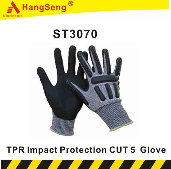 TPR Impact Protection Safety Work Glove for Industrial Purpose Use