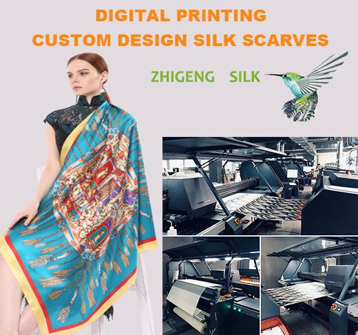 Custom Design Digital Printing Lady Silk Scarf