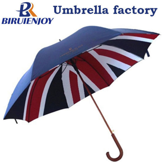 Custom Double Layer National UK Flag Printed Wooden Stick Umbrella with Crood Wood Handle