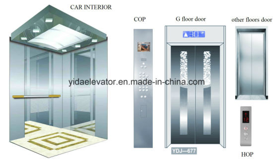 Passenger Elevator with Mirror Etching Stainless Steel Car Cabin pictures & photos