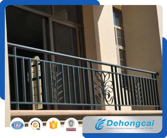 Solid metal veranda railing galvanized wrought iron balcony safety fence