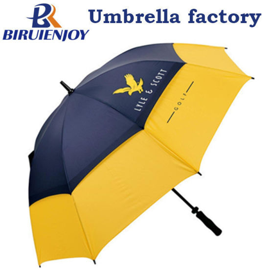 62 68 Inch Auto Open Golf Umbrella with Large Windproof Double Canopy with Logo Prints