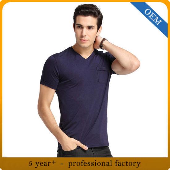 Custom Men's High Quality Plain Bamboo T-Shirt with Pocket