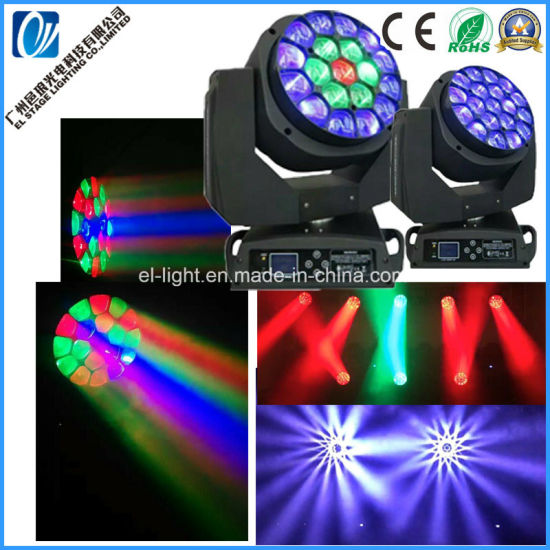 Clay Parkky LED Bee Eye Moving Head Light with 19LEDs RGBW 4in1 Pixel Control for Stage