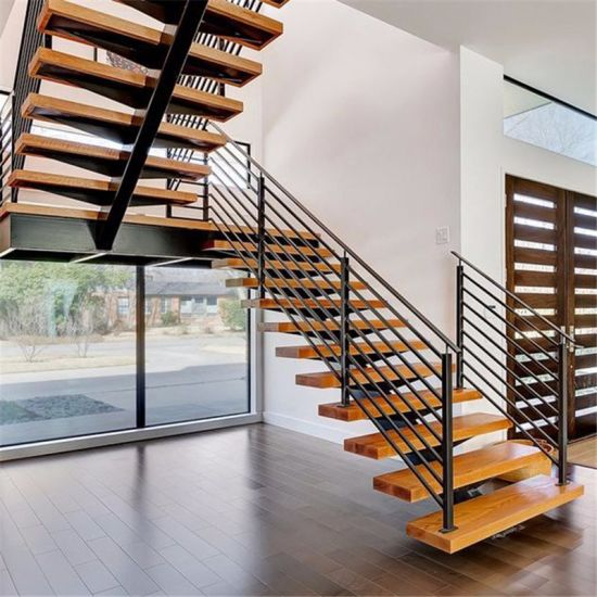 Modern Wooden Staircase Safety Rails Indoor Straight Stairs