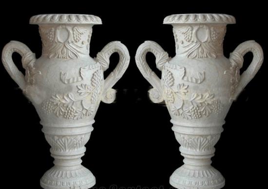 Hot Item Art Garden Natural Stone Flower Vase China White Marble Home Decor