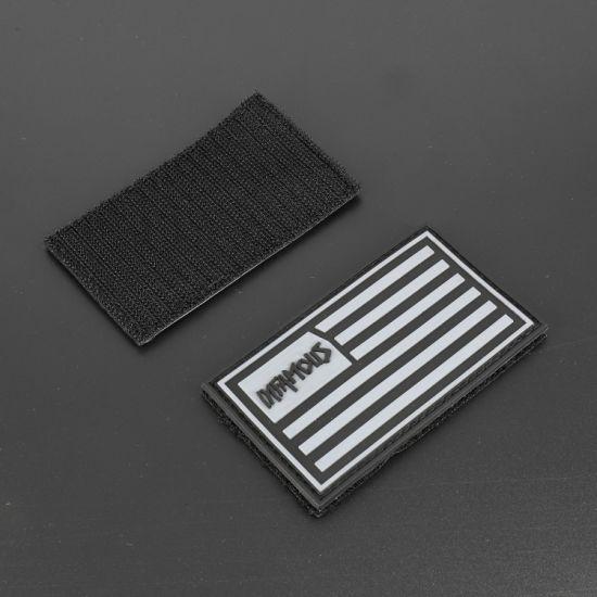 Maker Custom Us Flag Logo Fashion Garment Accessories Soft PVC Patches Velcro