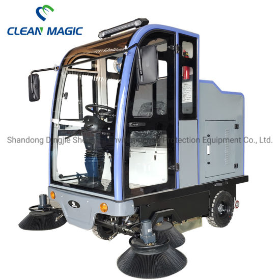 Clean Magic Industrial Auto Electric Ride on Road Floor Cleaning Truck Driving Floor Sweeper Vehicle Machine with Cabin for Disinfecting/ Sterilizing