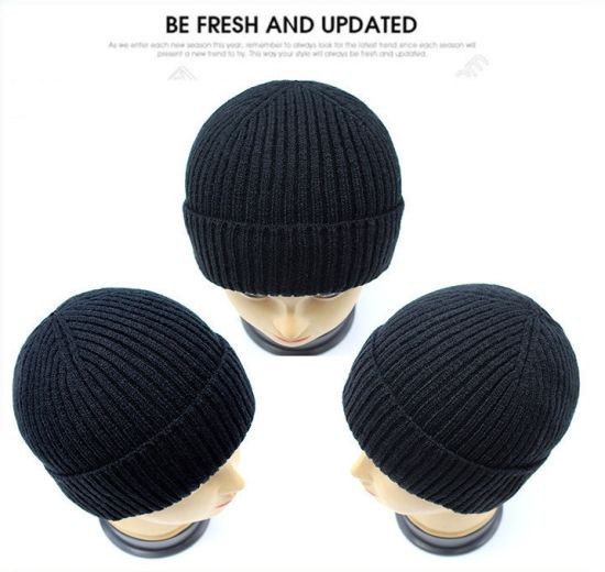 High Quality Nice Handfeel Turnback Brim Knitting Hat pictures & photos