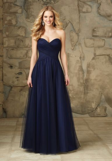 Navy Blue Tulle Sweetheart Bridesmaid Gowns