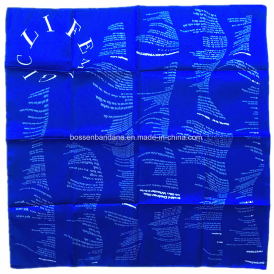 Chinese Factory OEM Produce Customized Logo Printed Blue Satin Big Head Bandanas pictures & photos