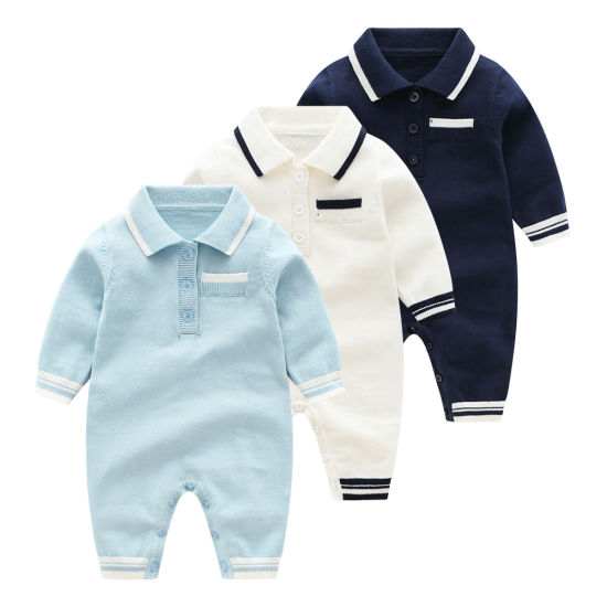 Knitted Jumpsuit Fashion Polo Neck Sweater Baby Clothes